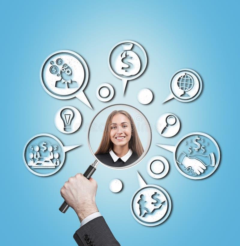 Processo de sorriso do candidato e do recrutamento fotos de stock