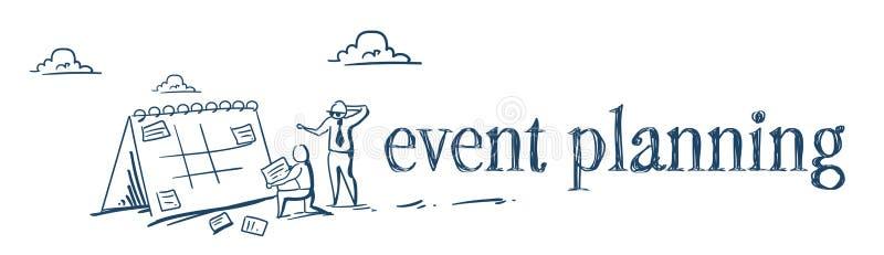 Processo de trabalho duro dos empresários do conceito do planeamento da programação do evento da nomeação da mudança do homem de  ilustração royalty free