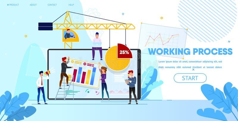 Processo de trabalho de povos que fazem o projeto do página da web ilustração do vetor