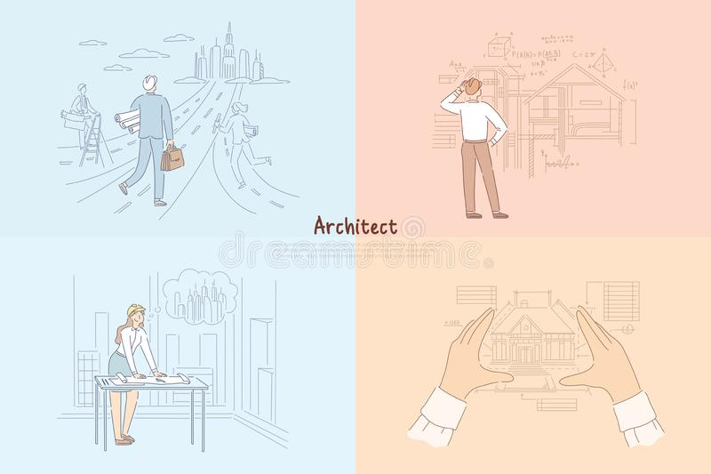 Processo del lavoro creativo dell'architetto, uomo che cammina verso il progetto futuro della città, donna che progetta l'insegna royalty illustrazione gratis