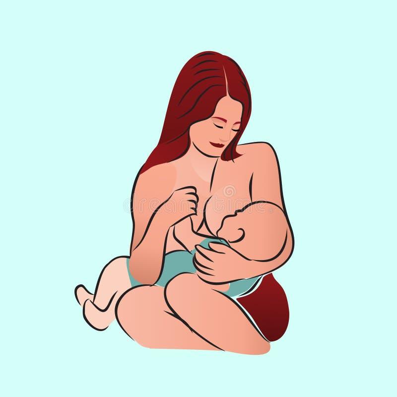 Processo di allattamento al seno del bambino e della madre illustrazione di stock