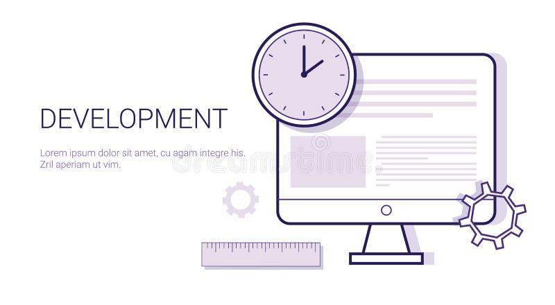 Processo di concetto di affari di creatività dell'insegna creativa di web di sviluppo con lo spazio della copia illustrazione di stock