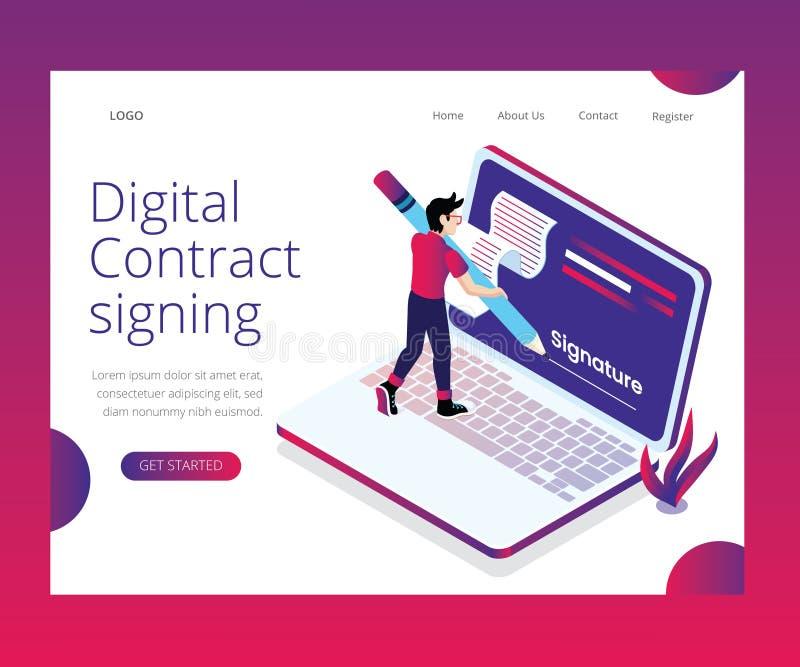 Processo di firma del contratto di Digital spiegato con il concetto isometrico del materiale illustrativo illustrazione vettoriale