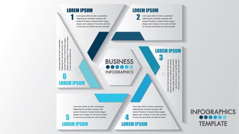 Processo di infographics di affari La cronologia con 6 punti, spazio di opzioni per testo pubblica Illustratore del modello di ve royalty illustrazione gratis