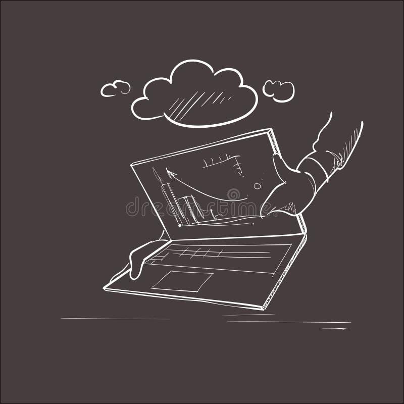 Processo di lavoro del grafico finanziario di affari di computer portatile illustrazione di stock