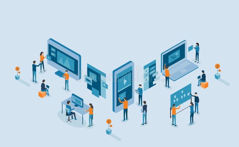 Processo di sviluppo mobile isometrico di web design e di applicazione illustrazione di stock