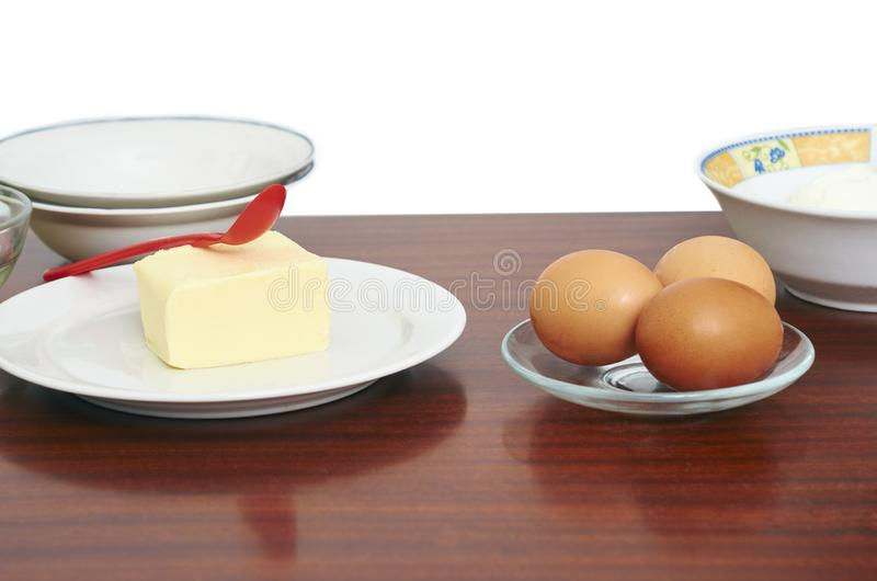Processo di Te di produrre pasta per torte a mano Dolce bollente in uova degli ingredienti della cucina di una ricetta della past fotografia stock