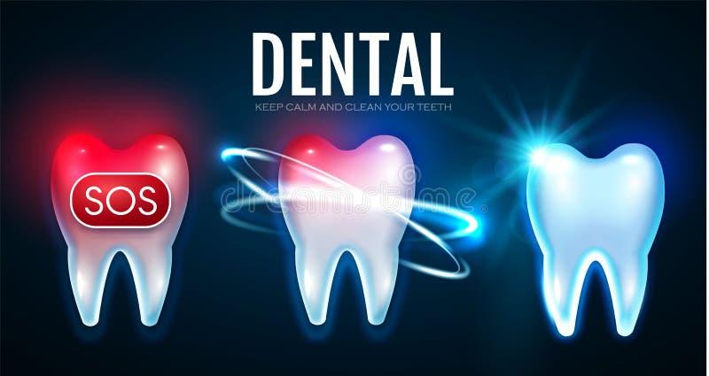 Processo di trattamento del dente con le luci di moto Mal di denti Helthy Teech Modello di progettazione di stomatologia Concetto illustrazione di stock