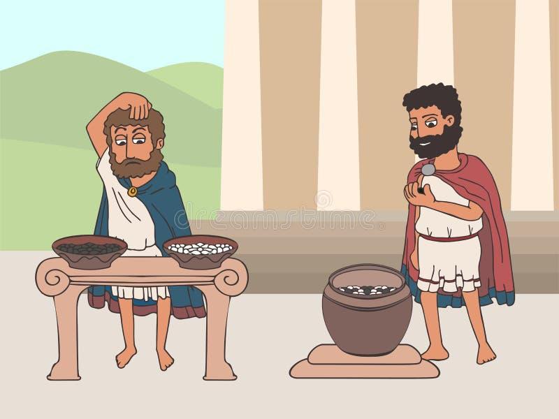 Processo di voto nel fumetto di Grecia antica illustrazione di stock