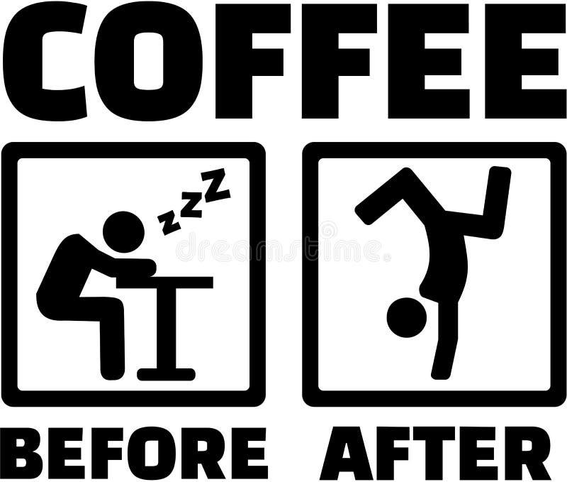 Processo do café - antes e depois da cafeína ilustração stock