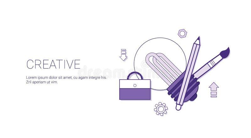Processo do conceito do negócio da faculdade criadora de bandeira criativa da Web do molde do desenvolvimento com espaço da cópia ilustração do vetor