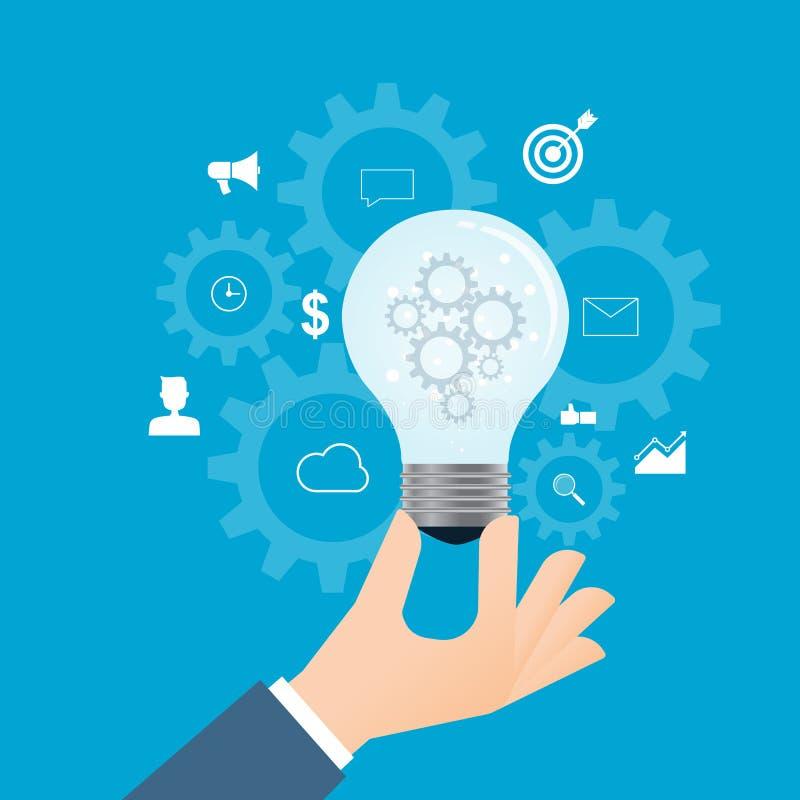 Processo do negócio liso e conceito criativos do pensamento criativo ilustração royalty free