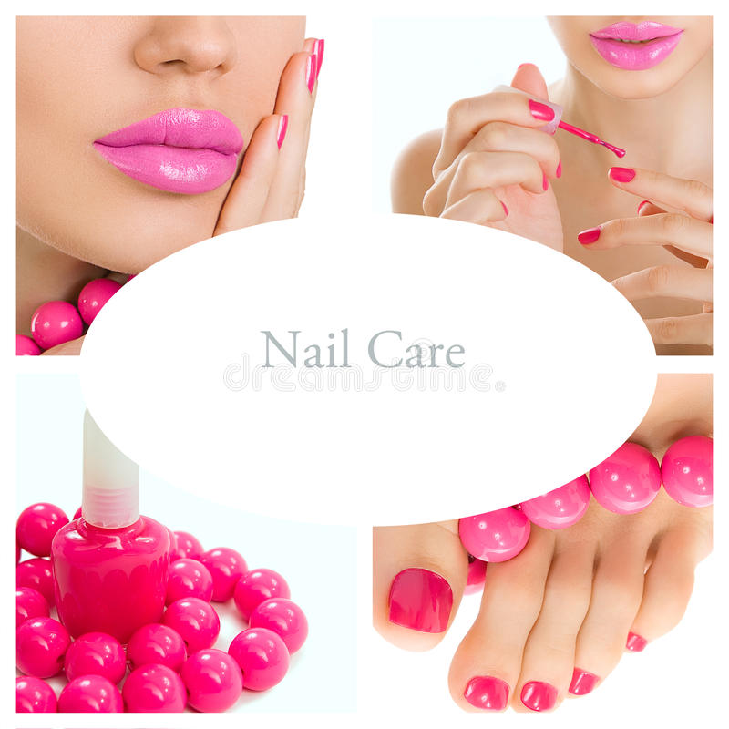 Processo do pedicure - tratamento de mãos e colagem cor-de-rosa do pedicure (pi brilhante imagens de stock