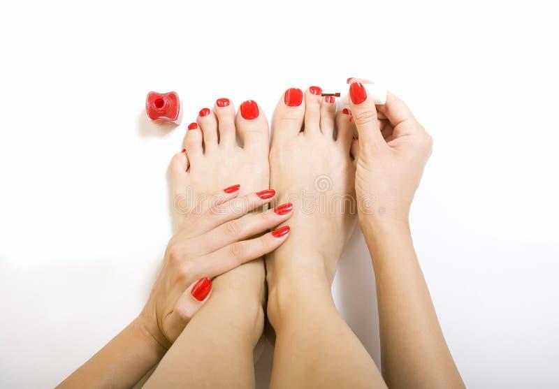 Processo do pedicure - tratamento de mãos e pedicure vermelhos imagem de stock