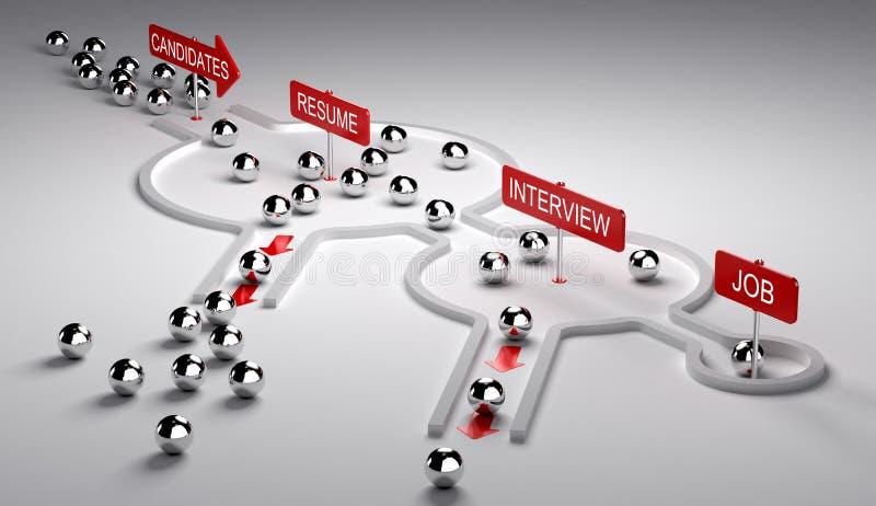Processo do recrutamento dos candidatos ilustração royalty free