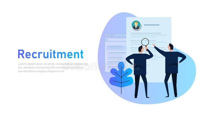 processo do recrutamento selecionando o candidato por recursos humanos O homem de negócio seleciona do CV impresso, lupa, plano ilustração stock