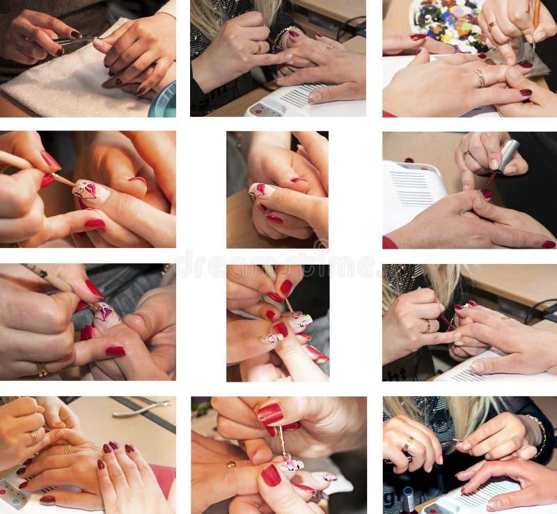 Processo do tratamento de mãos da colagem no salão de beleza Close-up foto de stock royalty free