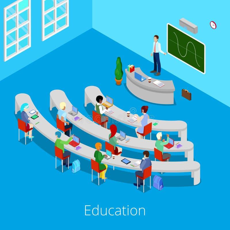 Processo educacional isométrico Sala de leitura lisa da universidade 3d com professor e estudantes ilustração do vetor