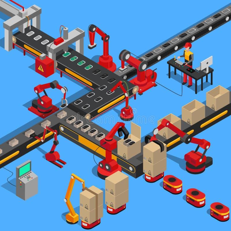 Processo industrial do transporte de produzir a técnica ilustração stock