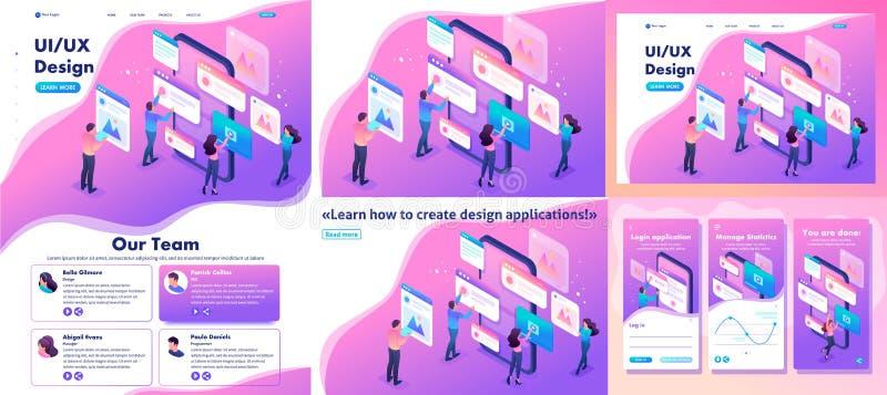Processo isométrico de criar o projeto da aplicação ilustração stock
