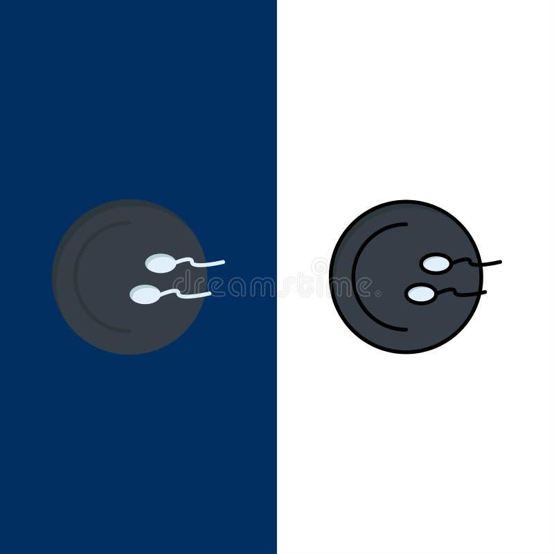 Processo, medico, riproduzione, icone della medicina Il piano e la linea icona riempita hanno messo il fondo blu di vettore illustrazione di stock