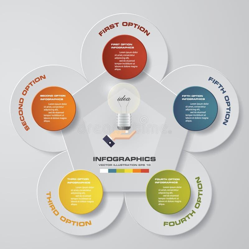 Processo moderno de 5 etapas Elemento do projeto do sumário de Simple&Editable ilustração stock