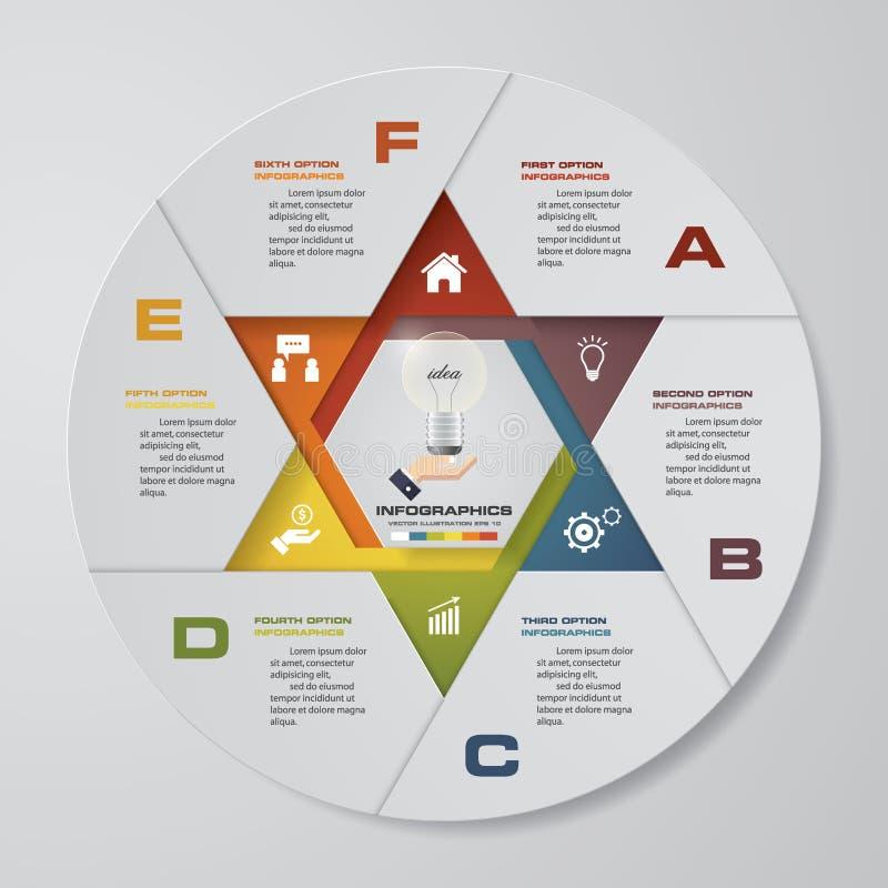 Processo moderno de 6 etapas Elemento do projeto do sumário de Simple&Editable ilustração do vetor