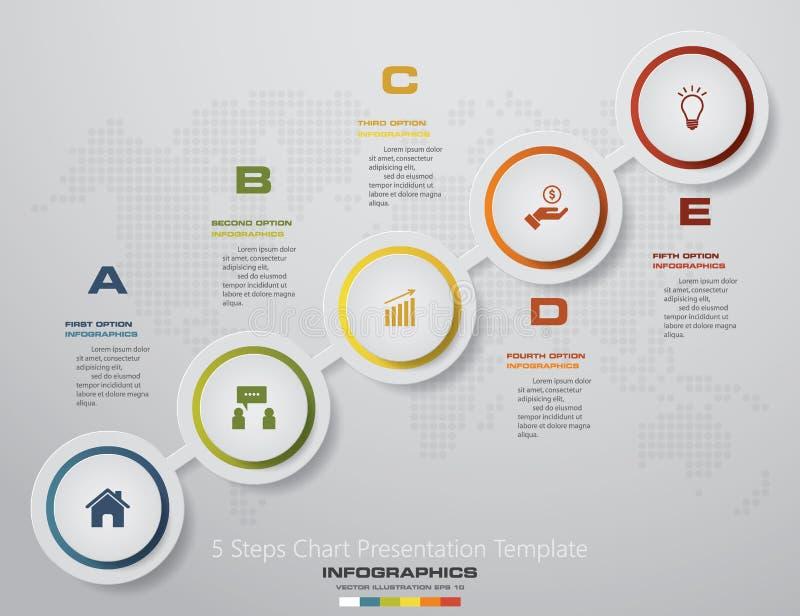 Processo moderno de 5 etapas Elemento do projeto do sumário de Simple&Editable ilustração do vetor