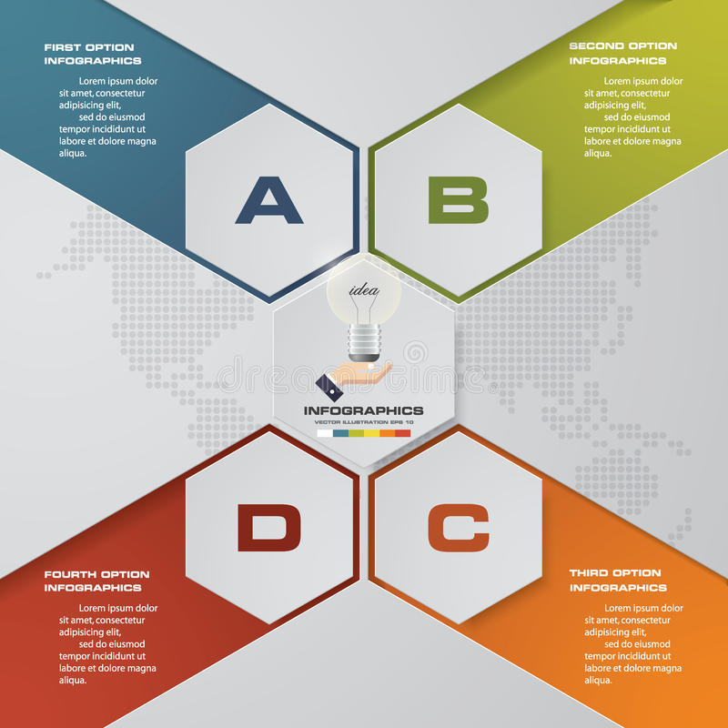 Processo moderno de 4 etapas Elemento do projeto do sumário de Simple&Editable ilustração do vetor