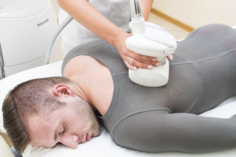 Processo no lipomassage da clínica imagem de stock