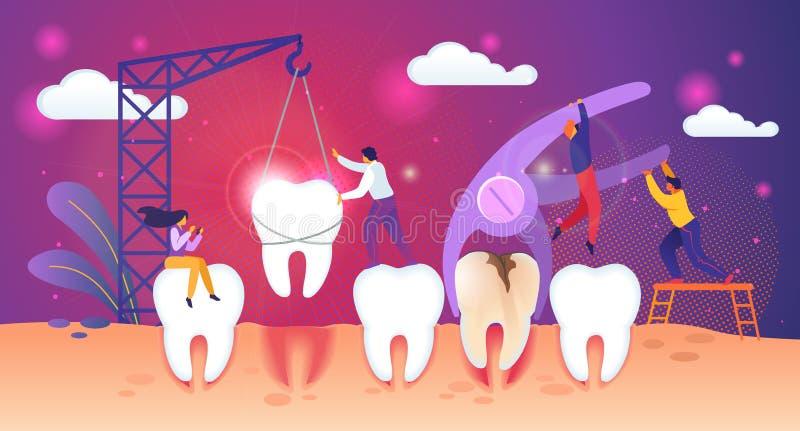 Processo non sano di rimozione del dente Lavoro minuscolo della gente illustrazione vettoriale