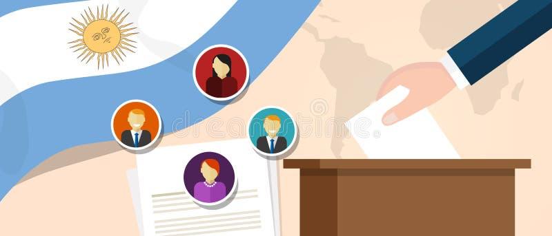Processo político da democracia de Argentina que seleciona o presidente ou o membro do parlamento com liberdade da eleição e do r ilustração stock