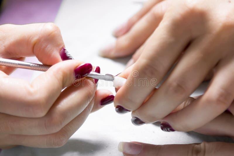Processo real do tratamento de mãos das mãos bonitas imagem de stock royalty free