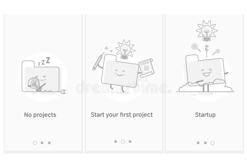 Processo startup do projeto, desenvolvimento de produtos e serviço novo da ideia à aplicação GUI moderno de UX UI da relação ilustração do vetor