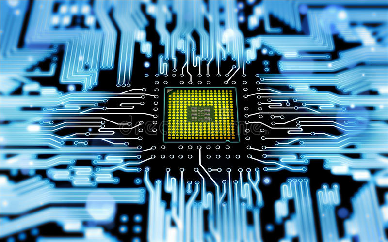 Processor. Abstract processor with electrical circuit royalty free stock photo