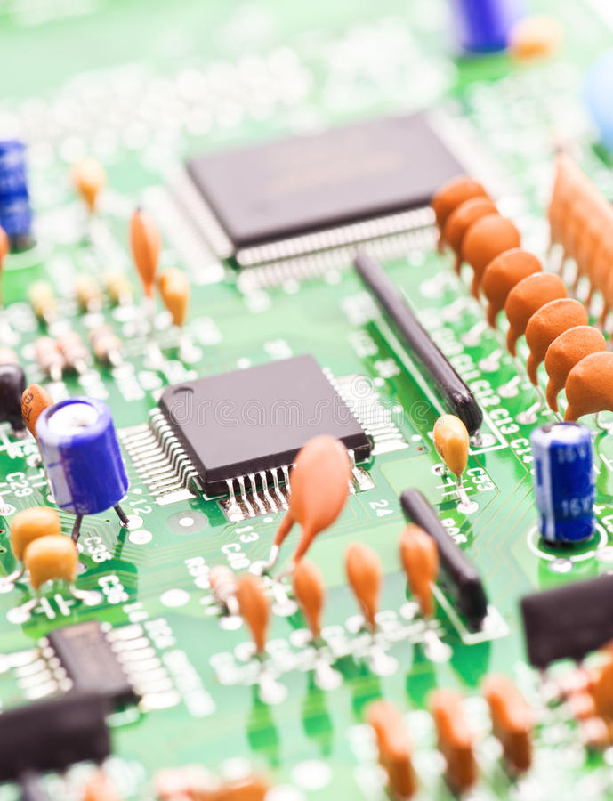Processor. And other electronic components mounted on board royalty free stock photo