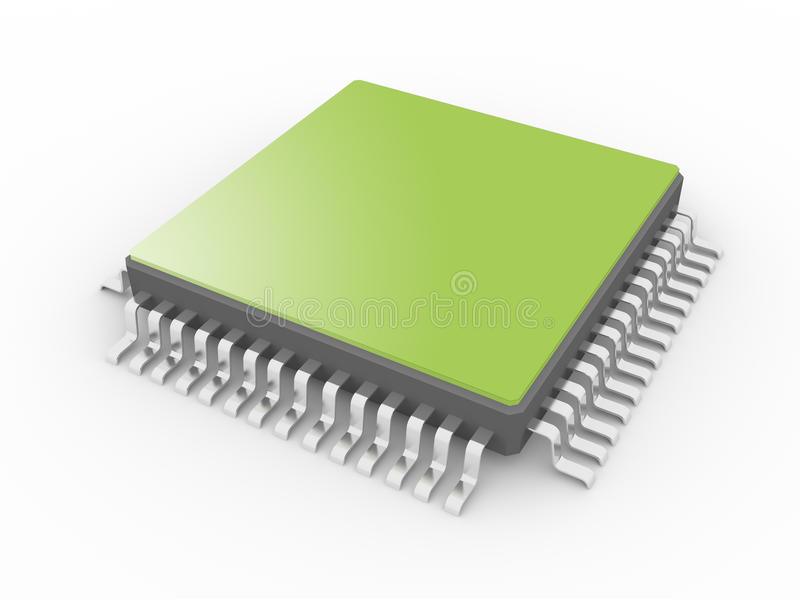 Processor 3D. Processor isolated on a white background stock illustration