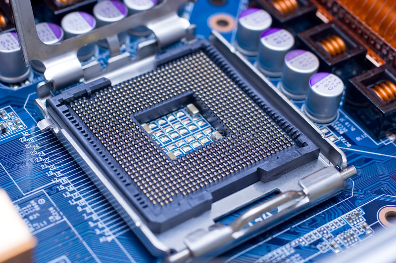Processor. Situated on blue background, increase, close-up royalty free stock photography