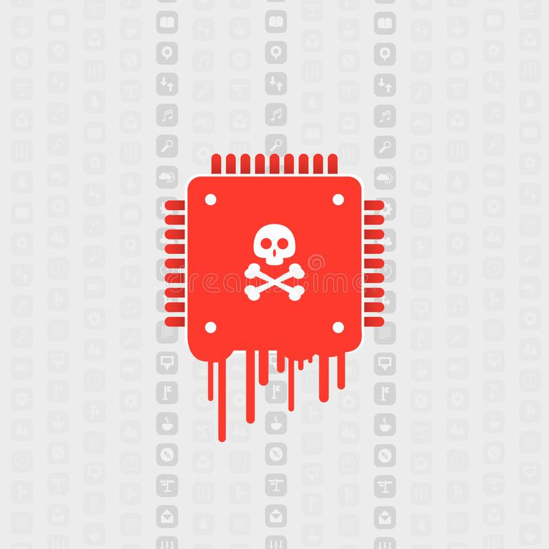 Processor Affected by Meltdown & Spectre Critical Security Vulnerabilities, Which Enable Cyber Attacks, Password or Data Leak. Password or Personal Data Leak on stock illustration