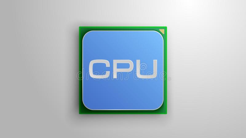 The processor with the blue case stock illustration