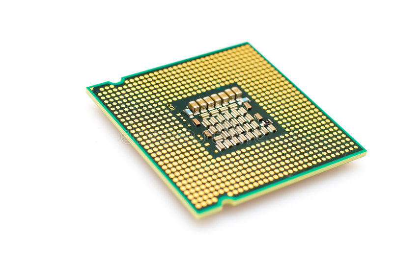 Processor chip. Isolated over a white background royalty free stock image