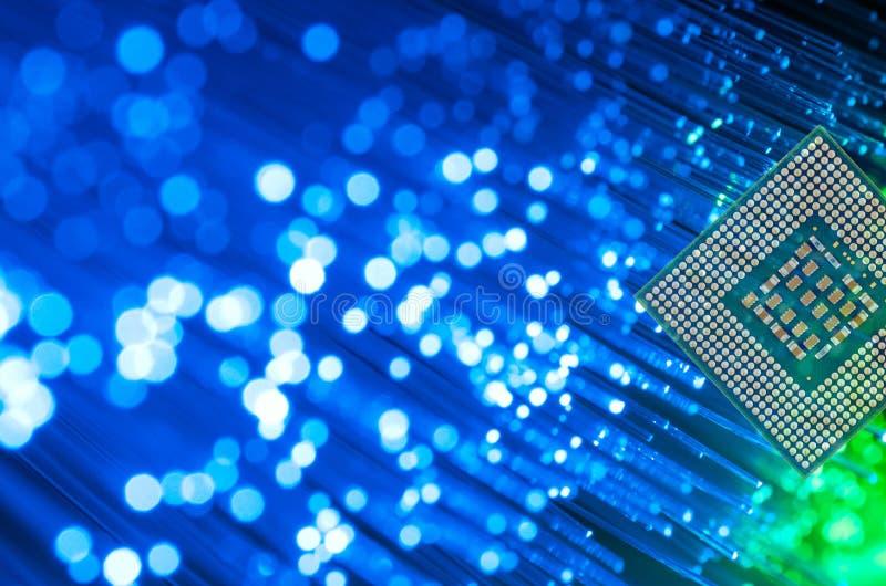 Processor Chip On Fiber Optics arkivfoton