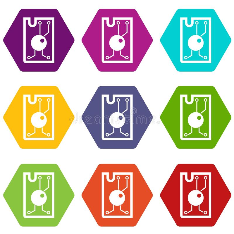 Processor chip icon set color hexahedron royalty free illustration