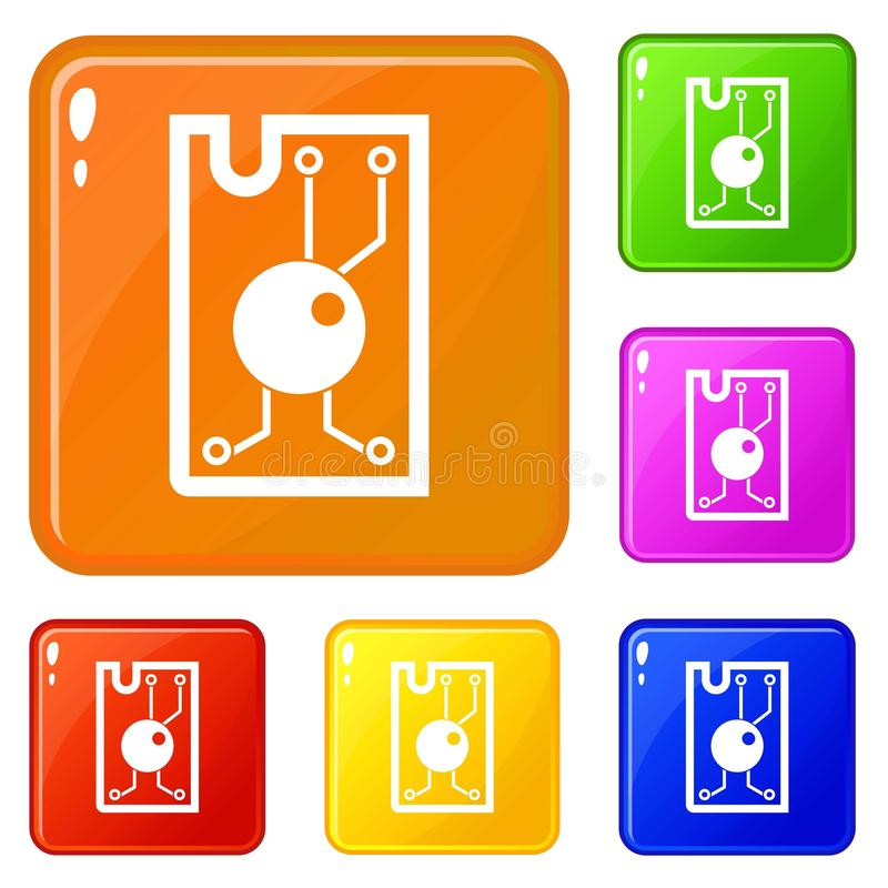 Processor chip icons set vector color stock illustration