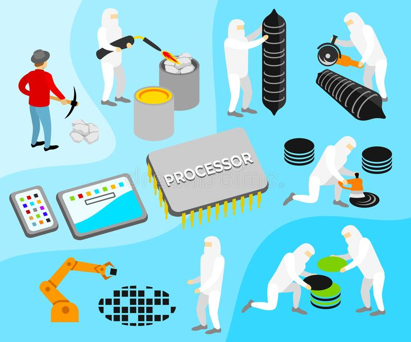 Processor or CPU, manufacturing process illustration. Technology, innovation, artificial intelligence and robotics, vector. Design vector illustration