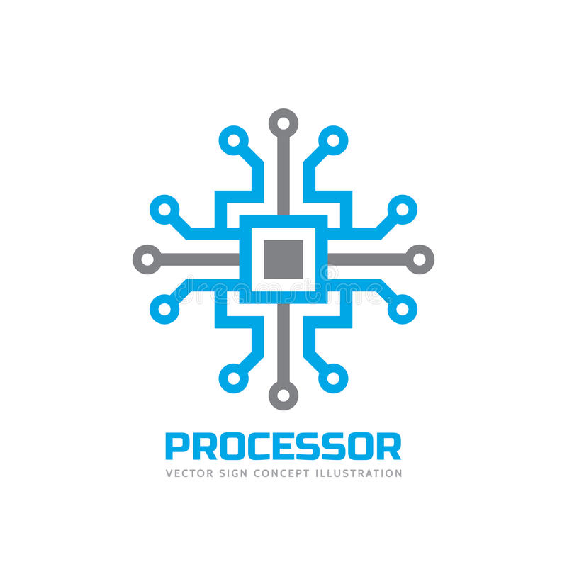Processor CPU - vector logo template for corporate identity. Abstract computer chip sign. Network, internet technology concept. Processor CPU - vector logo vector illustration