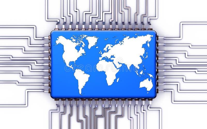 Processor. 3D illustration of an processor network concept royalty free illustration