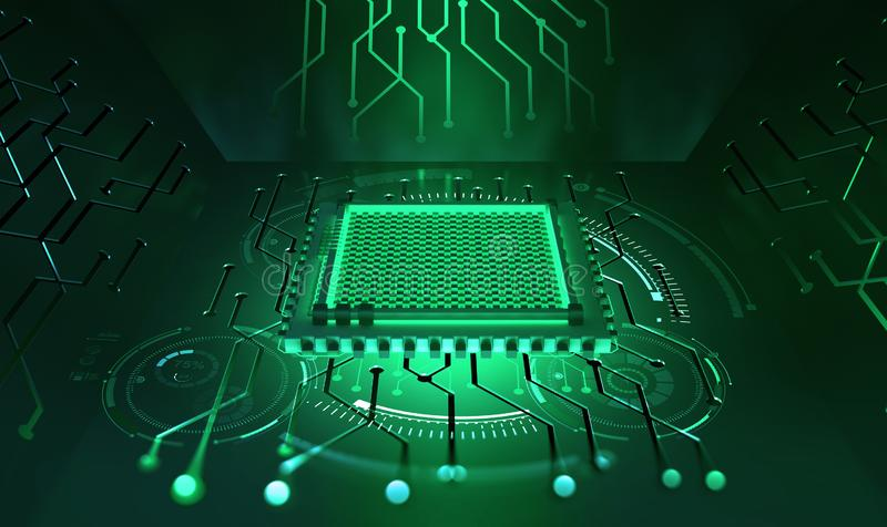 Processor of the future. Concept of global cyberspace. Innovations in computer nanotechnology. 3D illustration of an abstract microchip vector illustration