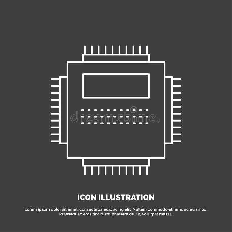 Processor, Hardware, Computer, PC, Technology Icon. Line vector symbol for UI and UX, website or mobile application stock illustration