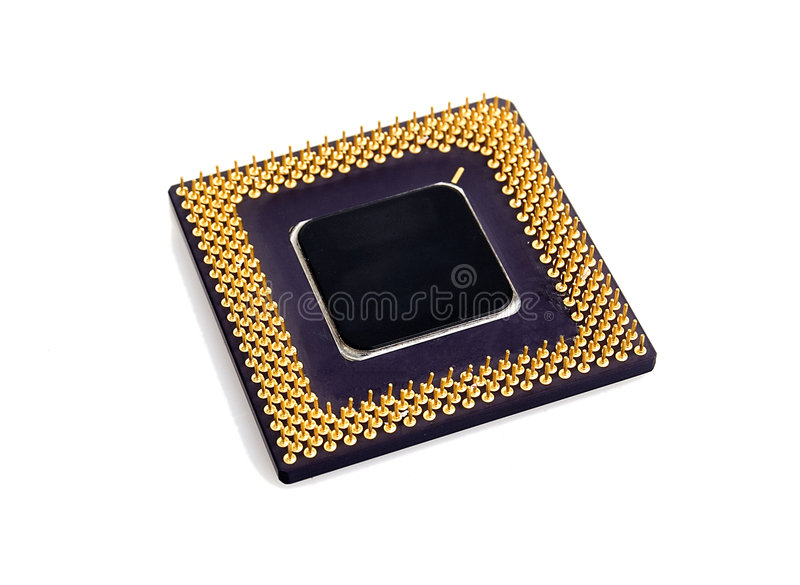 Processor isolated on white. PC processor isolated over white background royalty free stock image